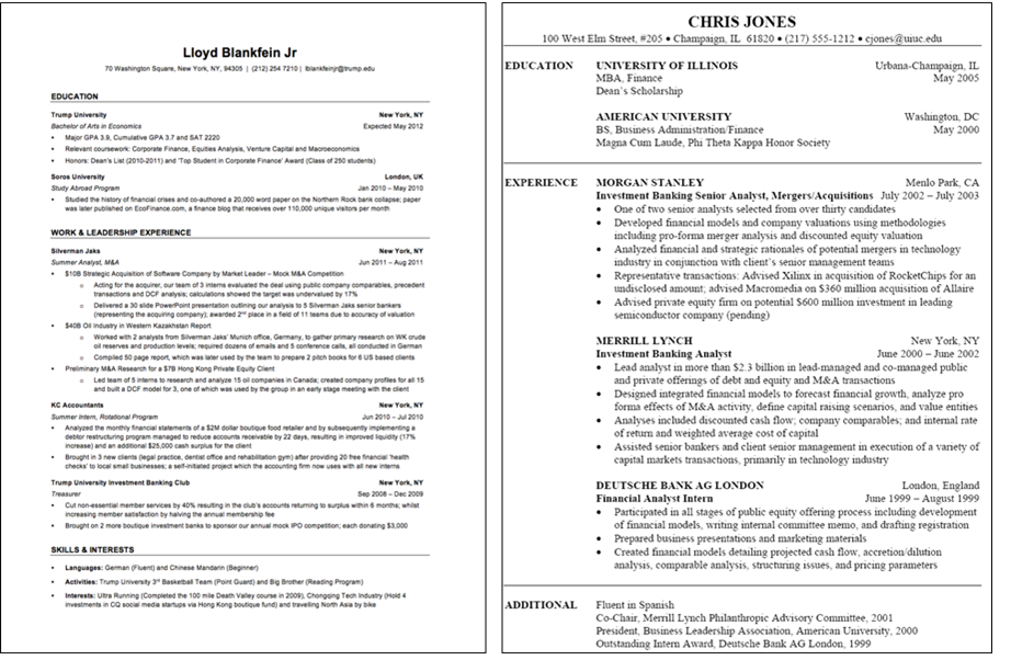 ib resume template comparison - Sample Resume Investment Banking